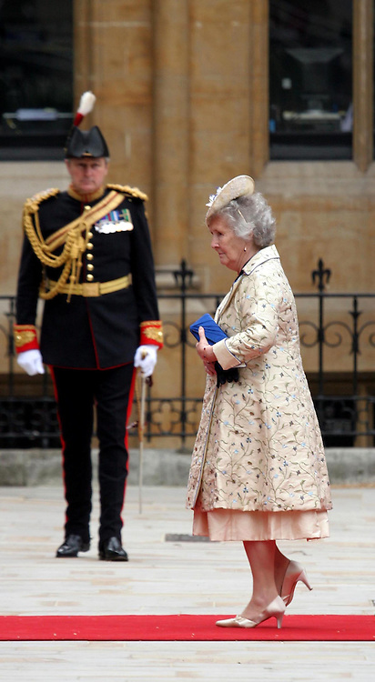 29 April 2011. London, England..Royal wedding day. Margaret Rhodes, the Queen's cousin and personal confidant arriving at the ceremony..Photo; Charlie Varley.