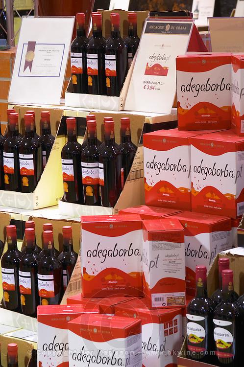 bag-in-box displays wine shop adega cooperativa de borba alentejo portugal