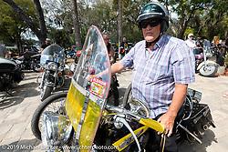 Rocky Halter on a Harley-Davidson Panhead restoration at Warren Lane's True Grit Antique Gathering bike show at the Broken Spoke Saloon in Ormond Beach during Daytona Beach Bike Week, FL. USA. Sunday, March 10, 2019. Photography ©2019 Michael Lichter.