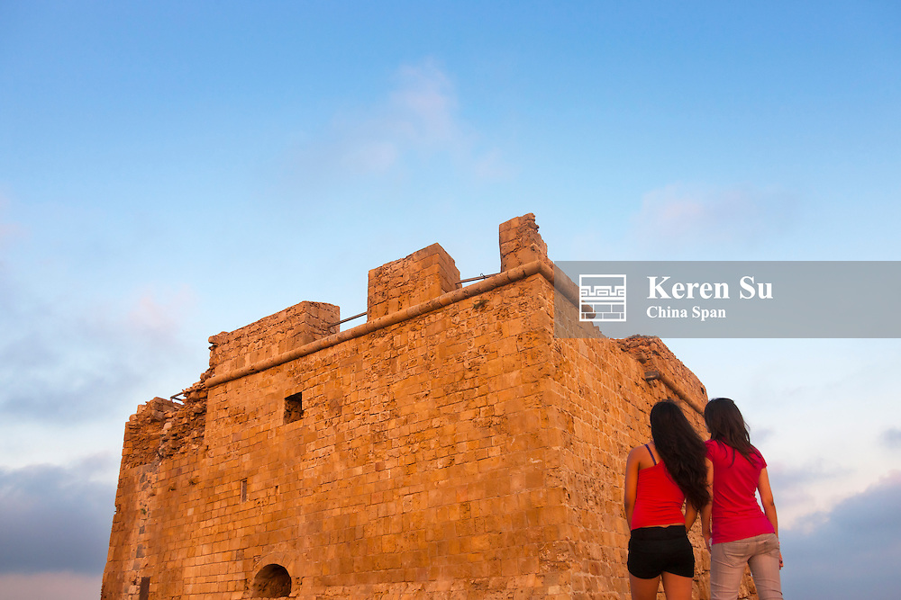 Medieval Castle of Paphos (Pafos) at sunset, Republic of Cyprus