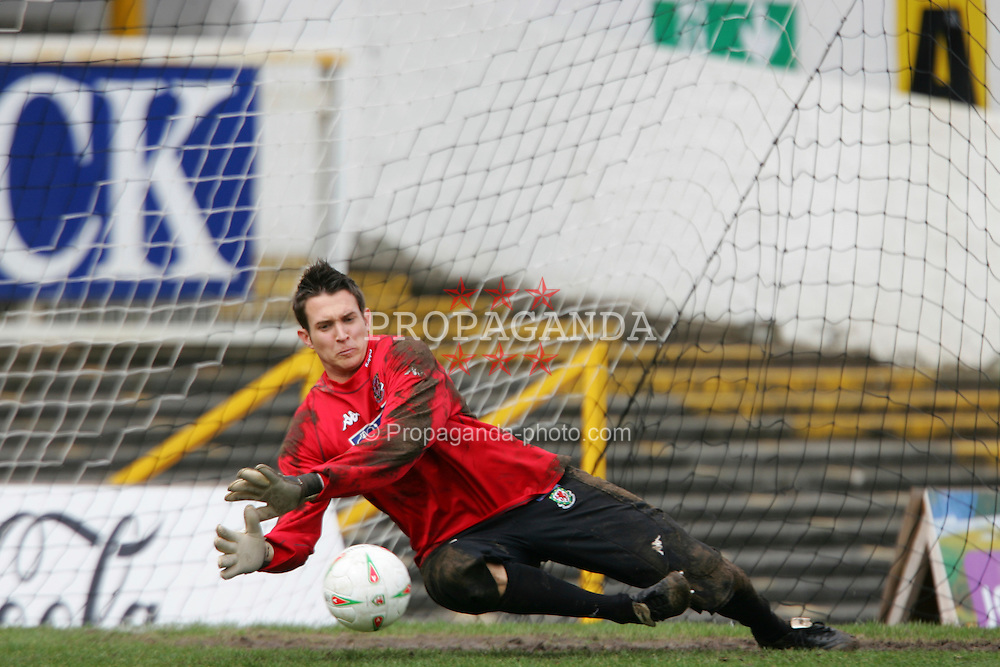 SWANSEA, WALES - TUESDAY MARCH 22nd 2005: Wales' goalkeeper Lewis Price during training at Swansea City's Vetch Field Stadium. (Pic by David Rawcliffe/Propaganda)