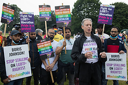 Peter Tatchell, veteran LGBTI+ and human rights campaigner, is interviewed following the first-ever Reclaim Pride march on 24th July 2021 in London, United Kingdom. Reclaim Pride replaced the traditional Pride in London march, which many feel has become too commercial and strayed from its roots in protest, and was billed as a People's Pride march for LGBTI+ liberation. Campaigners called for the banning of LGBTI+ conversion therapy, the reform of the Gender Recognition Act, the provision of a safe haven for LGBTI+ refugees and for LGBTI+ people to be decriminalised worldwide and marched in solidarity with Black Lives Matter.