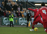 Photo: Lee Earle.<br /> Torquay United v Swindon Town. Coca Cola League 2. 18/11/2006. Swindon's Cyristian Roberts scores from the spot.
