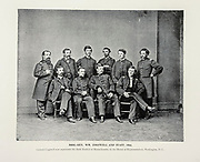 """BRIG. GEN. WM. COGSWELL AND STAFF, 1864. from The American Civil War book and Grant album : """"art immortelles"""" : a portfolio of half-tone reproductions from rare and costly photographs designed to perpetuate the memory of General Ulysses S. Grant, depicting scenes and incidents in connection with the Civil War Published  in Boston and New York by W. H. Allen in 1894"""