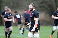 Alun Wyn Jones, the Wales captain looks on during the Wales Rugby team training at the Vale Resort, Hensol near Cardiff, South Wales on Wednesday 8th March 2017. The team are preparing for the the RBS Six nations match against Ireland.  pic by  Andrew Orchard, Andrew Orchard sports photography.