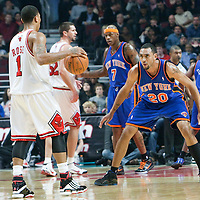 17 December 2009: New York Knicks forward Jared Jeffries defends against Chicago Bulls guard Derrick Rose during the Chicago Bulls 98-89 victory over the New York Knicks at the United Center, in Chicago, Illinois, USA.