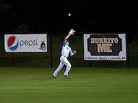 Bijan Rademacher makes the catch in the outfield during Laconia Muskrats against Newport Gulls playoff game 2 Thursday evening at Robbie Mills Field.   (Karen Bobotas/for the Laconia Daily Sun)