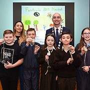 05/03/2019<br /> Pictured are award winners Jay Walsh, Joe Hyde, Kate O'Connor, Nathan Silien, and Anne Greenslade, from Milford NS, along with Sara Montoya, co-op member of Fairtrade Colombia, and Cllr Daniel Butler, Mayor of the Metropolitan District of Limerick.<br /> <br /> Fairtrade worker Sara Montoya, from a Fairtrade Coffee Co-op in Colombia was the special guest in Limerick City and County Council chamber today at an event to coincide with Fairtrade Fortnight.<br />  <br /> Sara joined Fairtrade supporters from across Limerick and Ireland for the annual initiative, which features a programme of talks and community events aimed at promoting awareness of Fairtrade and Fairtrade-certified products.<br />  <br /> Speaking at the event in Dooradoyle, Sara outlined the success and benefits of the Fairtrade movement in Colombia and how important it is for people in the developed world think of Fairtrade products when shopping.<br />  <br /> This year's campaign 'Create Fairtrade' invites us all to use our imagination and create fairtrade in our lives.<br />  <br /> Young people from across Limerick city and county were also a focus of the event as they displayed their posters, which they created to help change the way people think about trade and the products on our shelves.<br /> Photo by Diarmuid Greene
