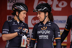 Lucy Garner and Chloe Hosking chat on the sign in stage - Grand Prix de Dottignies 2016. A 117km road race starting and finishing in Dottignies, Belgium on April 4th 2016.