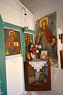 Interior of the Greek Orthodox church of Saint Charapampos, Paliachora, Aegina, Greek Saronic Islands .<br /> <br /> If you prefer to buy from our ALAMY PHOTO LIBRARY  Collection visit : https://www.alamy.com/portfolio/paul-williams-funkystock/aegina-greece.html <br /> <br /> Visit our GREECE PHOTO COLLECTIONS for more photos to download or buy as wall art prints https://funkystock.photoshelter.com/gallery-collection/Pictures-Images-of-Greece-Photos-of-Greek-Historic-Landmark-Sites/C0000w6e8OkknEb8
