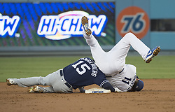 August 11, 2017 - Los Angeles, California, U.S - 11 Aug 2017. The Los Angeles Dodgers play the San Diego Padres in the first  game of a three-game series at Dodger Stadium. Pictured is Dodger Logan Forsythe tagging Padres' Cory Spangenberg at second base. (Credit Image: © Prensa Internacional via ZUMA Wire)