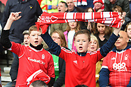Forest supporters singing during the EFL Sky Bet Championship match between Nottingham Forest and Derby County at the City Ground, Nottingham, England on 11 March 2018. Picture by Jon Hobley.