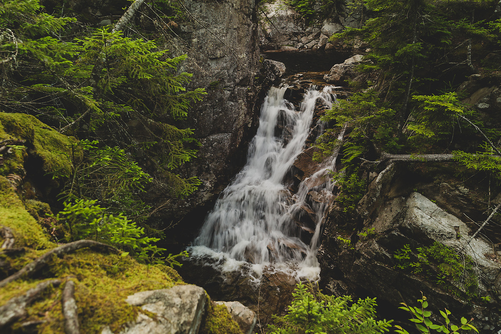 The granite ledge drop at Rocky Glen Falls deep in the woods of Franconia Notch.