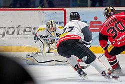 22.10.2016, Ice Rink, Znojmo, CZE, EBEL, HC Orli Znojmo vs Dornbirner Eishockey Club, 13. Runde, im Bild v.l. Florian Hardy (Dornbirner) Corin Konradsheimster (Dornbirner) Jiri Beroun (HC Orli Znojmo) // during the Erste Bank Icehockey League 13th round match between HC Orli Znojmo and Dornbirner Eishockey Club at the Ice Rink in Znojmo, Czech Republic on 2016/10/22. EXPA Pictures © 2016, PhotoCredit: EXPA/ Rostislav Pfeffer
