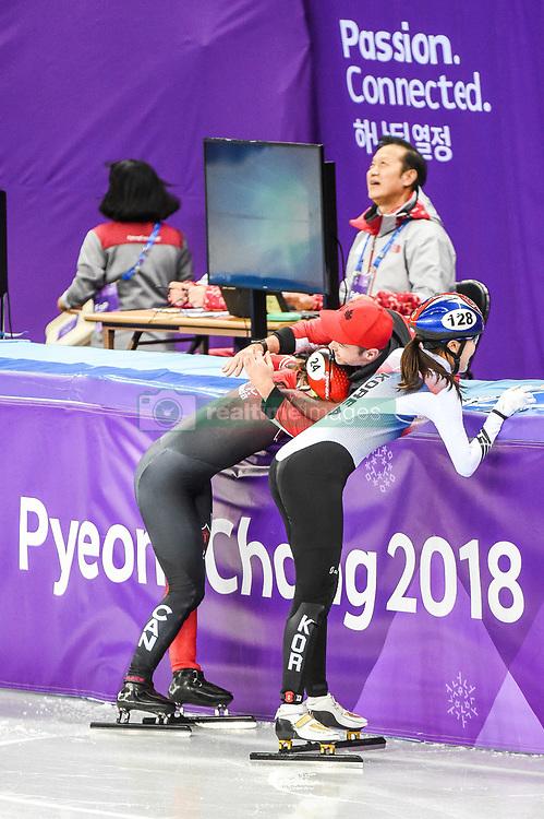 February 17, 2018 - Pyeongchang, Gangwon, South Korea - Kim Boutin of Canada  celebrating her medal in 1500 meter speed skating for women at Gangneung Ice Arena, Gangneung, South Korea on 17 February 2018. (Credit Image: © Ulrik Pedersen/NurPhoto via ZUMA Press)