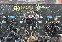 April 29, 2018 - Montalegre, Vila Real, Portugal - Johan KRISTOFFERSSON winner of race (C), Sebastien LOEB (L) and Petter SOLBERG (R) in Podium Ceremony during the World RX of Portugal 2018, at Montalegre International Circuit, on April 29, 2018 in Montalegre, Portugal. (Credit Image: © Dpi/NurPhoto via ZUMA Press)