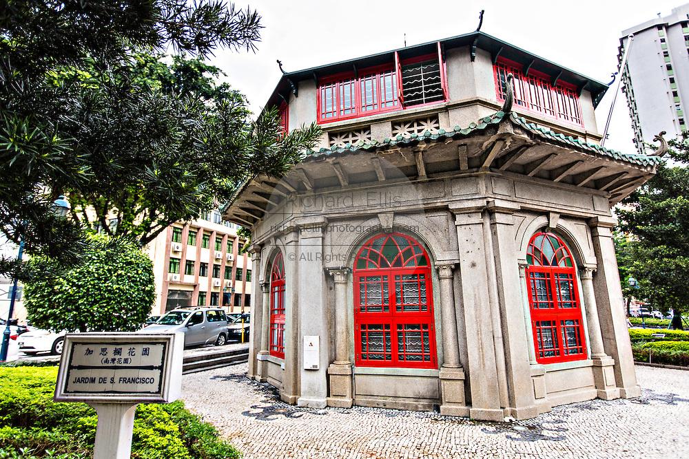 Chinese Octagonal Pavilion Library in the Jardim do Sao Francisco or Sao Francisco Garden in Macau.