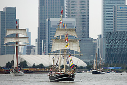 © Licensed to London News Pictures. 07/09/2014. Three tall ships led by Lady of Avenel. The biggest tall ships event in London for 25 years is continuing across this weekend. Visitors took the opportunity to sail in tall ships up and down the Thames and go onboard those moored at Greenwich and Woolwich. The Royal Greenwich Tall Ships Festival concludes on Tuesday when all 50 vessels will sail down river together. Credit : Rob Powell/LNP