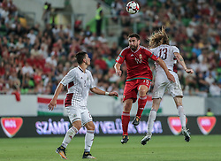August 31, 2017 - Budapest, Hungary - Daniel Böde (L) of Hungary in action with Gorkss Kaspars (R) of Latvia during the World Cup qualification match between Hungary and Latvia at Groupama Arena on Aug 31, 2017 in Budapest, Hungary. (Credit Image: © Robert Szaniszlo/NurPhoto via ZUMA Press)