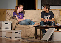 """""""Maggie"""" Brittney Pond and """"David"""" Reese Miles during LHS Theater Arts dress rehearsal for """"Letters From My Father"""" Wednesday evening.  (Karen Bobotas/for the Laconia Daily Sun)"""