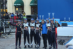 15.02.2015,  Karlstad, SWE, FIA, WRC, Schweden Rallye, im Bild The Podium, 1: Sebastien Ogier/Julien Ingrassia (Volkswagen Motorsport/Polo R WRC), 2: Thierry Neuville/Nicolas Gilsoul (Hyundai Motorsport/i20 WRC), 3:Andreas Mikkelsen/Ola Floene (Volkswagen Motorsport II/Polo R WRC) and Jost Capito // during the WRC Sweden Rallye at the Karlstad in Karlstad, Sweden on 2015/02/15. EXPA Pictures © 2015, PhotoCredit: EXPA/ Eibner-Pressefoto/ Bermel<br /> <br /> *****ATTENTION - OUT of GER*****