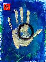 """Hand print with the Taoist symbol for wholeness. The Chinese character means 'Health""""."""