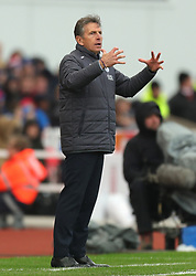 Leicester City manager Claude Puel during the Premier League match at the bet365 Stadium, Stoke-on-Trent.