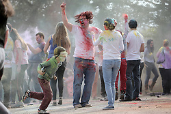 © Under licence to London News Pictures. 20/03/2016. Students and members of the public celebrate the Indian Holi Festival at Durham University's Oriental Musem, Durham UK. Holi is the Indian Spring Festival also known as the festival of colours. Photo Credit: Stuart Boulton/LNP