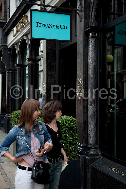 """Tiffany & Co. Exclusive shops on New Bond Street, Mayfair, central London. It is one of the principal streets in the West End shopping district and is more upmarket. It has been a fashionable shopping street since the 18th century. Technically """"Bond Street"""" does not exist: The southern section is known as Old Bond Street, and the northern section, which is rather more than half the total length, is known as New Bond Street. The rich and wealthy shop here mostly for high end fashion and jewellery."""