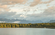Landscape with view of mountains and forest across Lake Wakatipu, near Queenstown, South Island, New Zealand