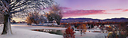 Idaho, Boise; A composite image (from 2) of Ann Morrison Park on a fall/winter morning.