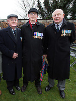 Members of the Cadette Corps Guard of Honour in the Easter 1966 commemorations, Lorcan O'Rourke, Michael Sheehan and Peter Ryan. Pictured at the wreath layying ceremony in The Garden of Remembrance on Saturday.<br />Photo: Tony Gavin 2