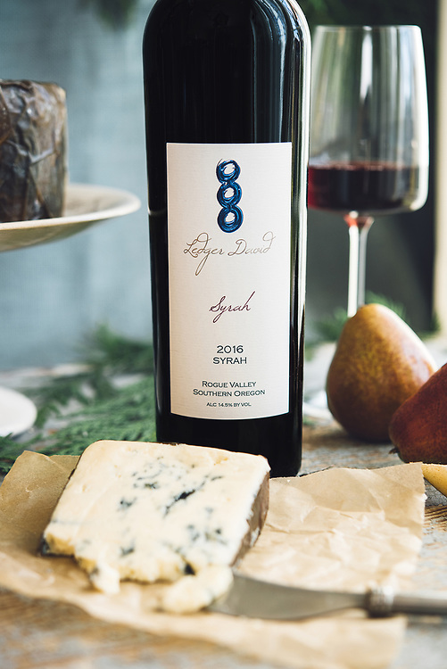 Rogue_Blue_Cheese_paired with David Ledger Wine and pear.