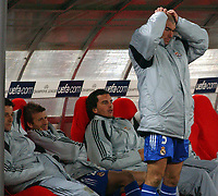 Fotball<br /> Champions League 2004/05<br /> Juventus v Real Madrid<br /> 9. mars 2005<br /> Foto: Digitalsport<br /> NORWAY ONLY<br /> Madrid's Zinezine Zadine and David Beckham and the rest of the Madrid bench show their frustration as they go out of the compition