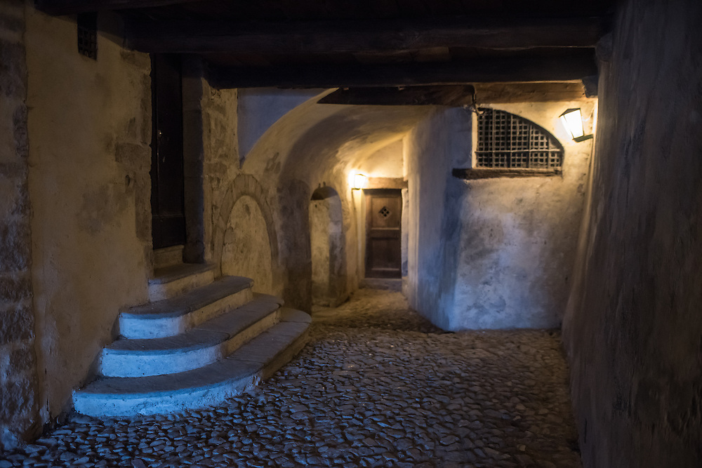 The covered narrow cobbled passages in Santa Maria Del Monte in Varese, Italy