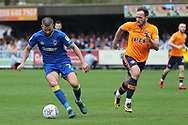 AFC Wimbledon defender George Francomb (7) dribbling during the EFL Sky Bet League 1 match between AFC Wimbledon and Oldham Athletic at the Cherry Red Records Stadium, Kingston, England on 21 April 2018. Picture by Matthew Redman.