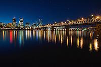 Portland Skyline, Big Dipper, and Hawthorne Bridge at Dusk<br /> <br /> Shot in Portland, OR, USA