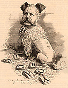 William Henry Waddington (1826-1894) French politician of English extraction.   Premier of France in 1879 under the presidency of Jules Grevy. Cartoon by Edward Linley Sambourne in the Punch's Fancy Portraits series from 'Punch' (London, 4 August 1883).