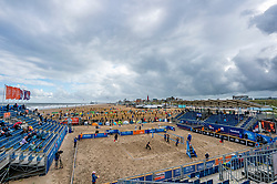Centercourt during the semi final. The Final Day of the DELA NK Beach volleyball for men and women will be played in The Hague Beach Stadium on the beach of Scheveningen on 23 July 2020 in Zaandam.