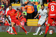 Luis Garcia of Liverpool legends team passes the ball. Liverpool Legends  v Real Madrid Legends, Charity match for the LFC Foundation at the Anfield stadium in Liverpool, Merseyside on Saturday 25th March 2017.<br /> pic by Chris Stading, Andrew Orchard sports photography.