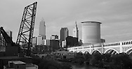 Cleveland skyline in black and white
