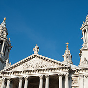 The top of the front of St Paul's Cathedral, one of the most distinctive of London's landmarks. There has been a church on this site since 604 AD. The current building, with it's massive dome, was designed by Christopher Wren and dates back to the late 17th century.