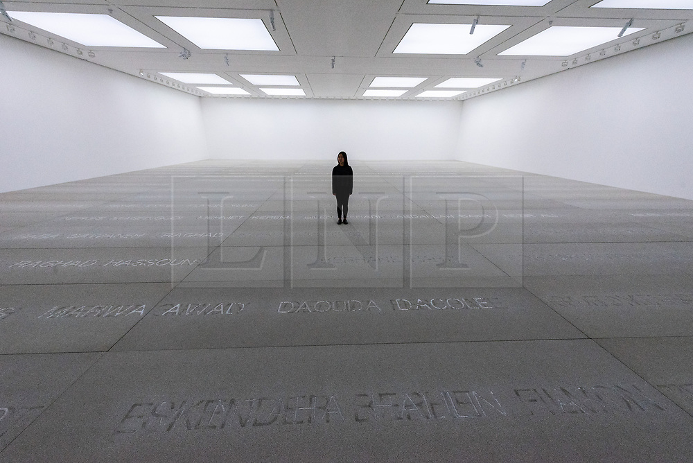 © Licensed to London News Pictures. 27/09/2018. London, UK. Art installation titled Palimpsest (2013−17) by artist Doris Salcedo. The work is showing at the White Cube Gallery. Photo credit: Ray Tang/LNP