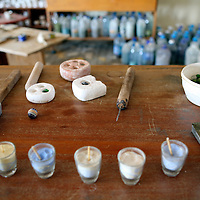 Africa, Namibia, Windhoek. Recycled glass bead making tools used by the women at Penduka in Namibia.