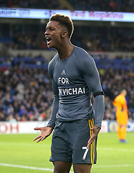 Leicester City's Demarai Gray celebrates scoring his side's first goal of the game