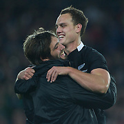 Sam Whitelock, (left) embraces Israel Dagg, New Zealand after the final whistle during the New Zealand V France Final at the IRB Rugby World Cup tournament, Eden Park, Auckland, New Zealand. 23rd October 2011. Photo Tim Clayton...