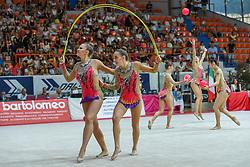July 28, 2018 - Chieti, Abruzzo, Italy - Rhythmic gymnastics team of Germany performs its 3 ball 2 ropes routine during the Rhythmic Gymnastics pre World Championship Italy-Ukraine-Germany at Palatricalle on 29th of July 2018 in Chieti Italy. (Credit Image: © Franco Romano/NurPhoto via ZUMA Press)
