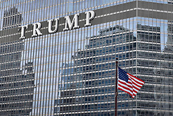 "© Licensed to London News Pictures. 21/12/2017. CHICAGO, USA.  The sign adorning the exterior of Trump International Hotel and Tower in downtown Chicago displays the word ""TRUMP"" in 20 foot high letters.  The United Nations has just voted to reject US President Donald Trump's recognition of Jerusalem as capital of Israel.  Photo credit: Stephen Chung/LNP"