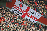 Charlton Athletic fans during the EFL Sky Bet League 1 second leg Play-Off match between Charlton Athletic and Doncaster Rovers at The Valley, London, England on 17 May 2019.