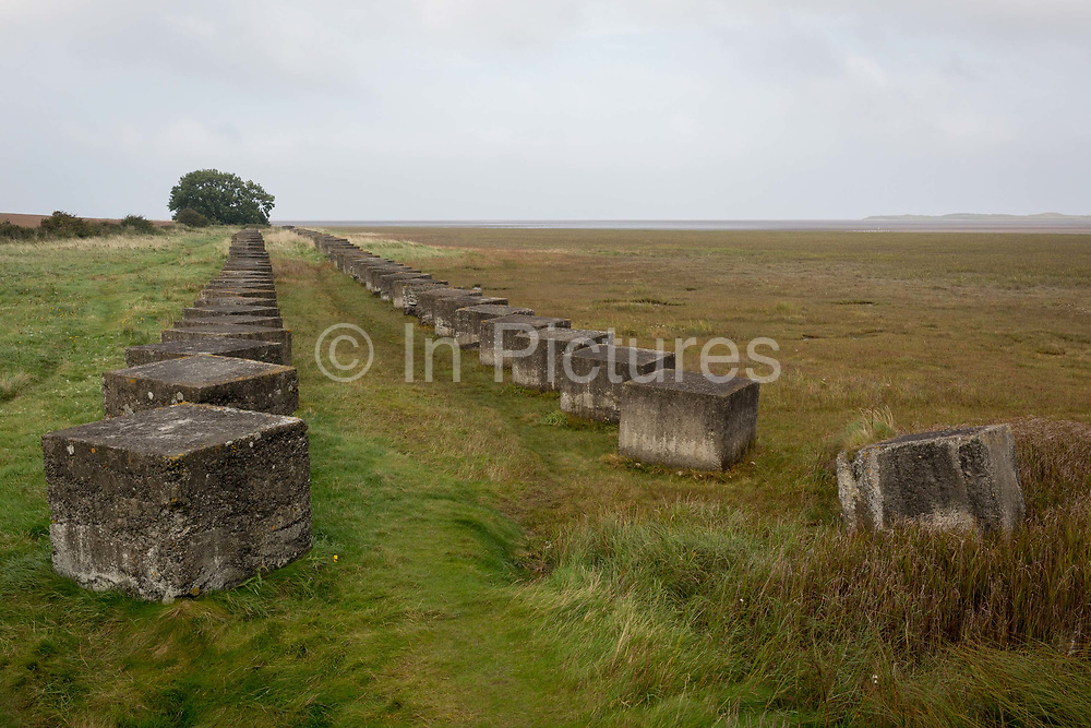 Huge concrete anti-tank cubes form a line of defences along the Northumbrian coast, placed on Britains northeast coast during fears of German invasion during WW2, on 27th September 2017, near Lindisfarne Island, Northumberland, England.